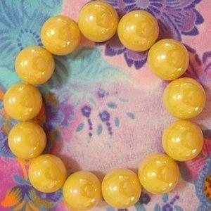 Yellow Beaded Stretch Bracelet - NEW